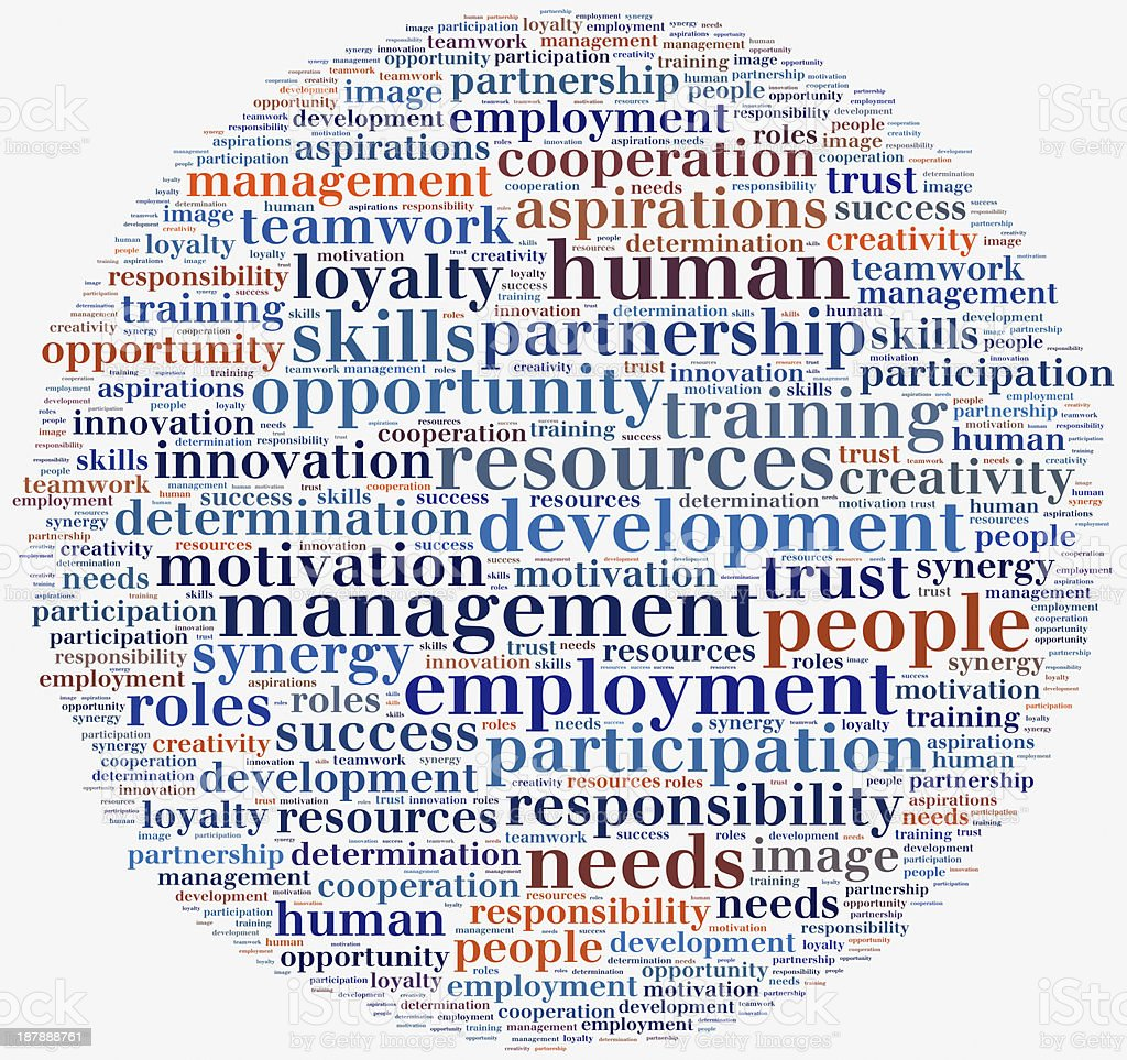 Tag cloud human resources related in shape of circle royalty-free stock photo