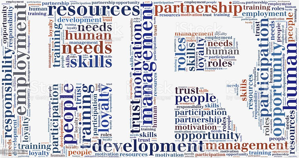 Tag cloud human resources related in shape of HR royalty-free stock photo