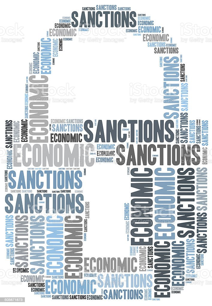 Tag cloud illustration related to economic sanctions stock photo