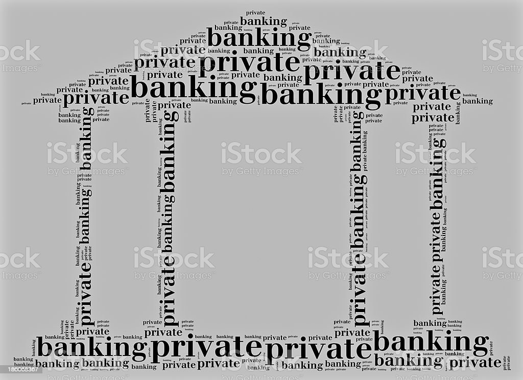 Tag cloud private banking related in shape of bank royalty-free stock photo