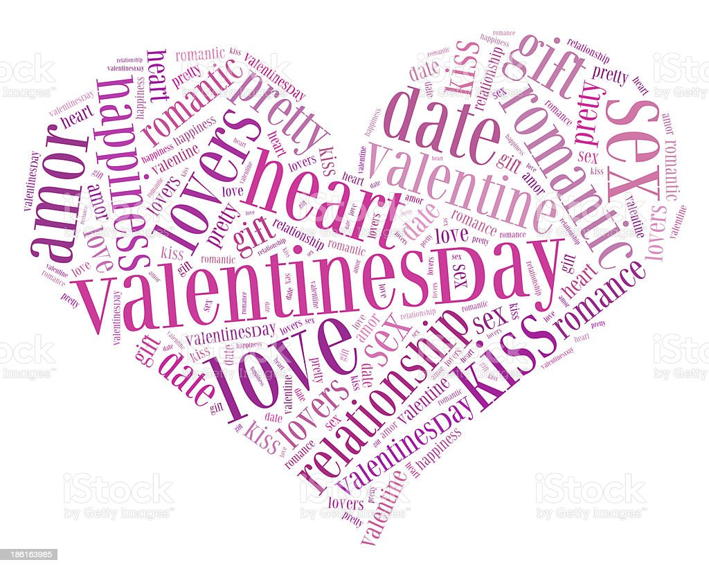 Tag cloud Valentine's day related in shape of heart stock photo