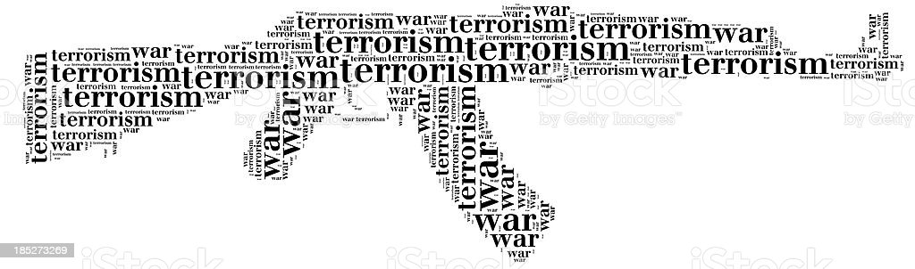 Tag cloud war or terrorism related in shape of ak-47 royalty-free stock photo