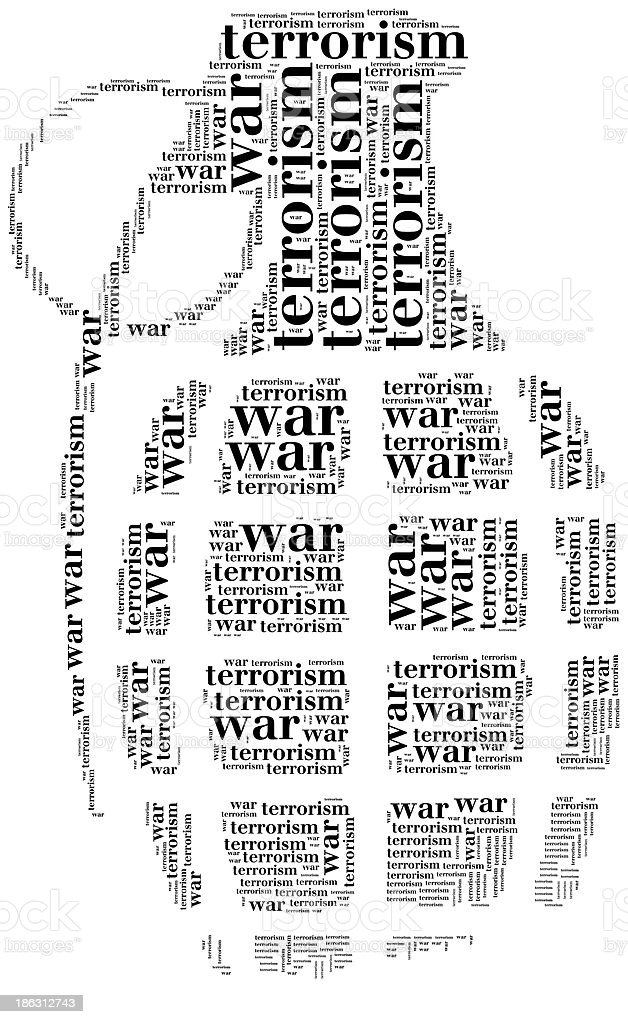 Tag cloud war or terrorism related in shape of grenade royalty-free stock photo