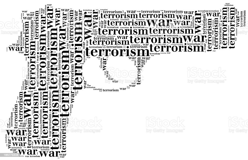 Tag cloud war or terrorism related in shape of pistol royalty-free stock photo