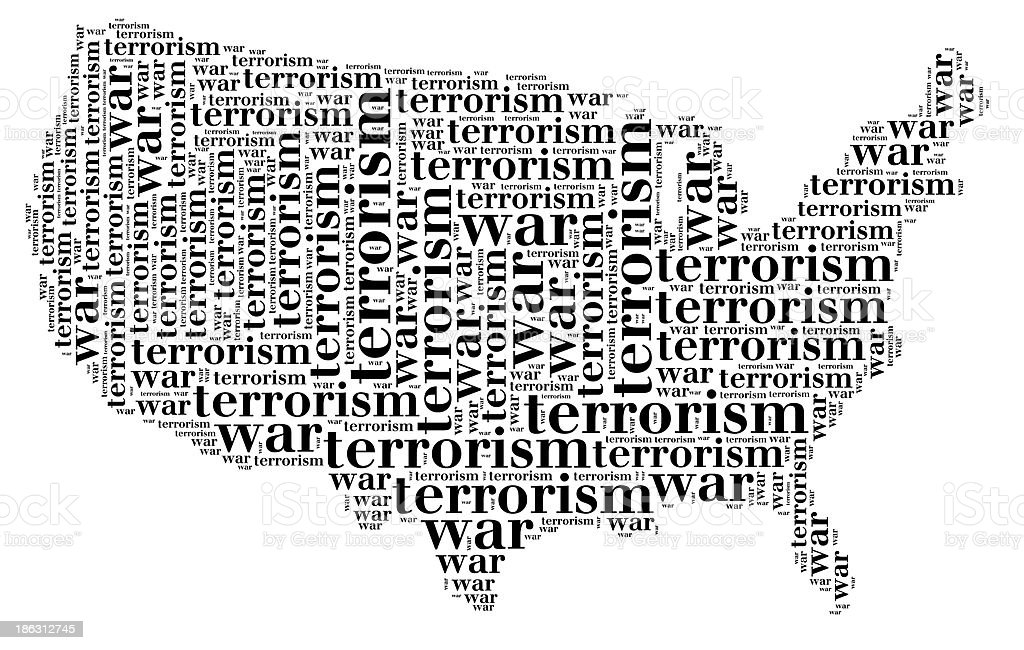 Tag cloud war or terrorism related in shape of USA stock photo
