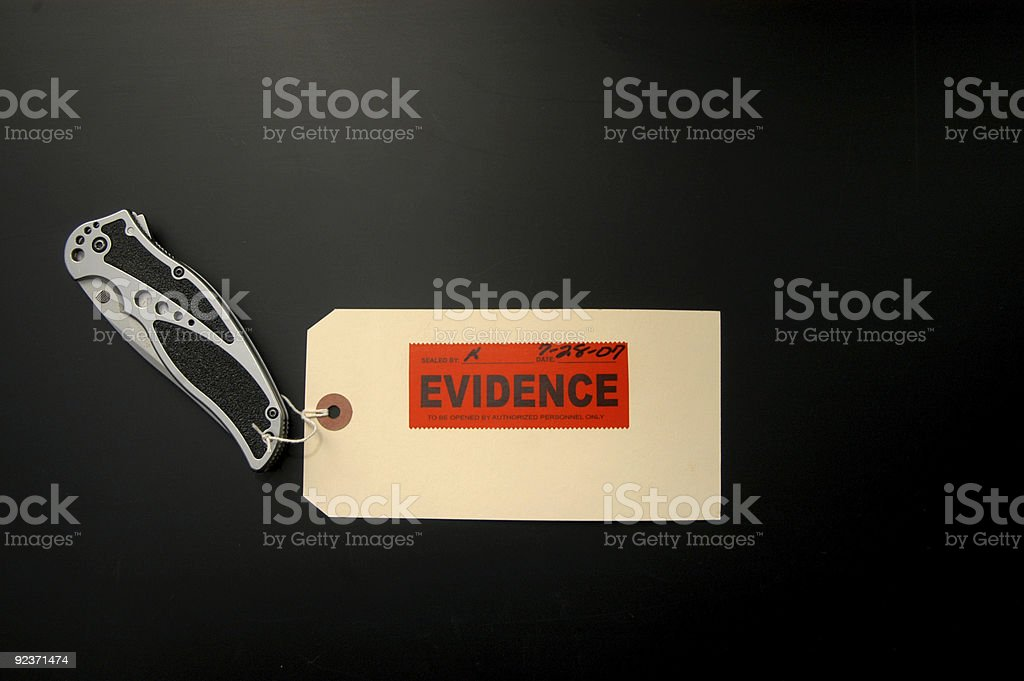 Tag marked 'evidence' and dated July 28th, 2007 royalty-free stock photo