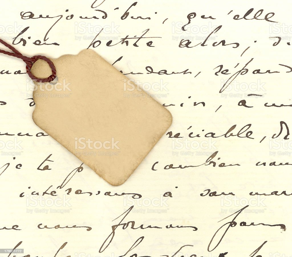 XXL Tag on Antique French Writing royalty-free stock photo
