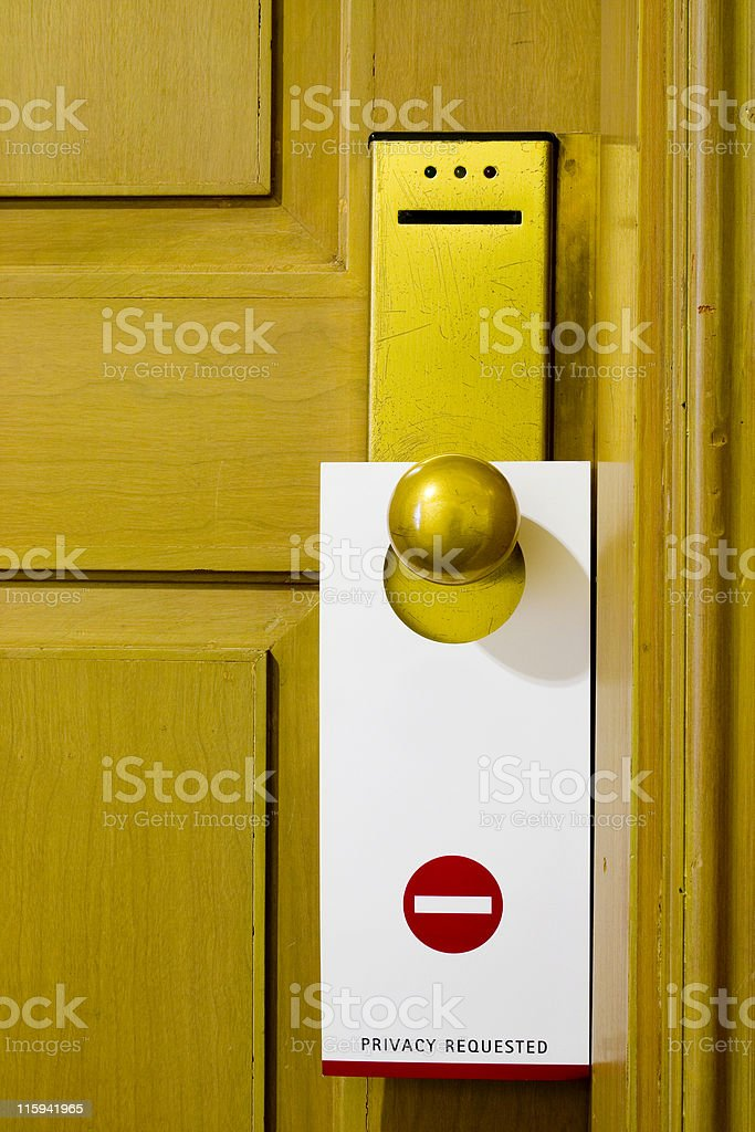 Tag on door handle royalty-free stock photo
