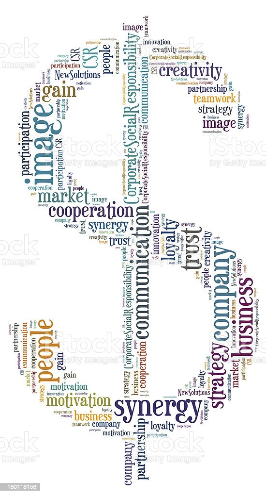 Tag or word cloud business related in shape of dollar royalty-free stock photo