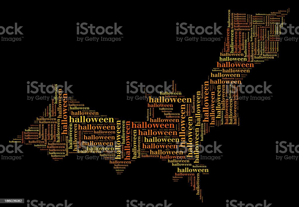 Tag or word cloud halloween related in shape of bat royalty-free stock photo
