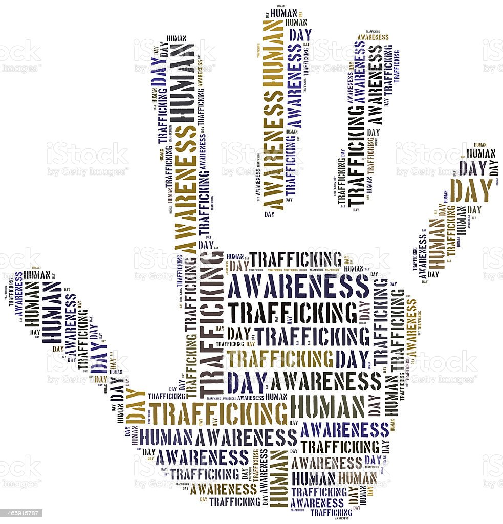 Tag or word cloud human trafficking awareness day related stock photo