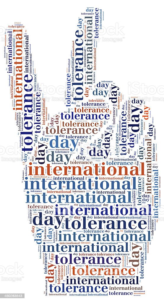 Tag or word cloud international tolerance day related stock photo