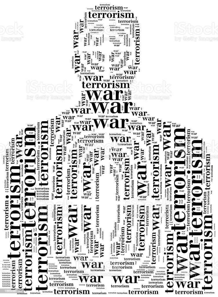 Tag or word cloud terrorism related in shape of silhouette stock photo