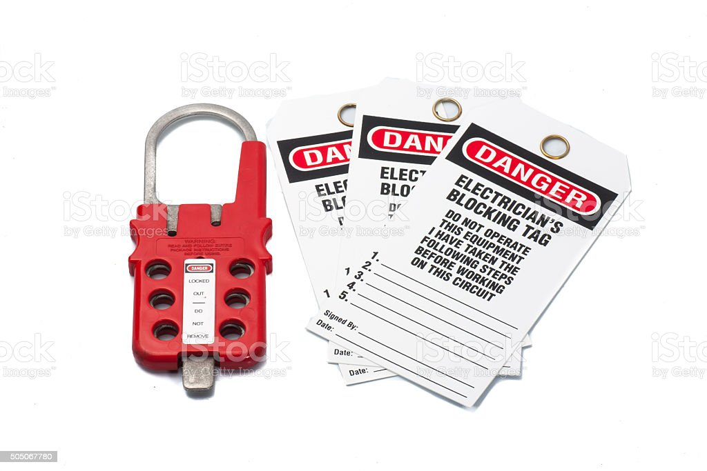 Tag Out Danger label with hasp stock photo