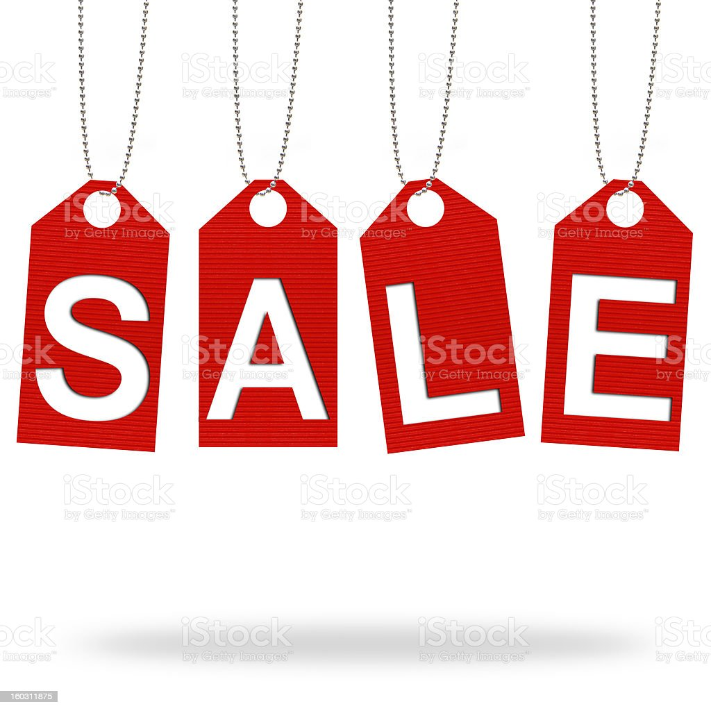 Tag Sale text, on white background royalty-free stock photo