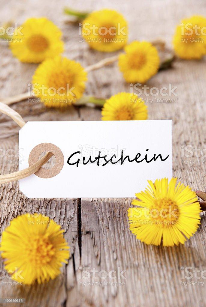Tag with Gutschein stock photo
