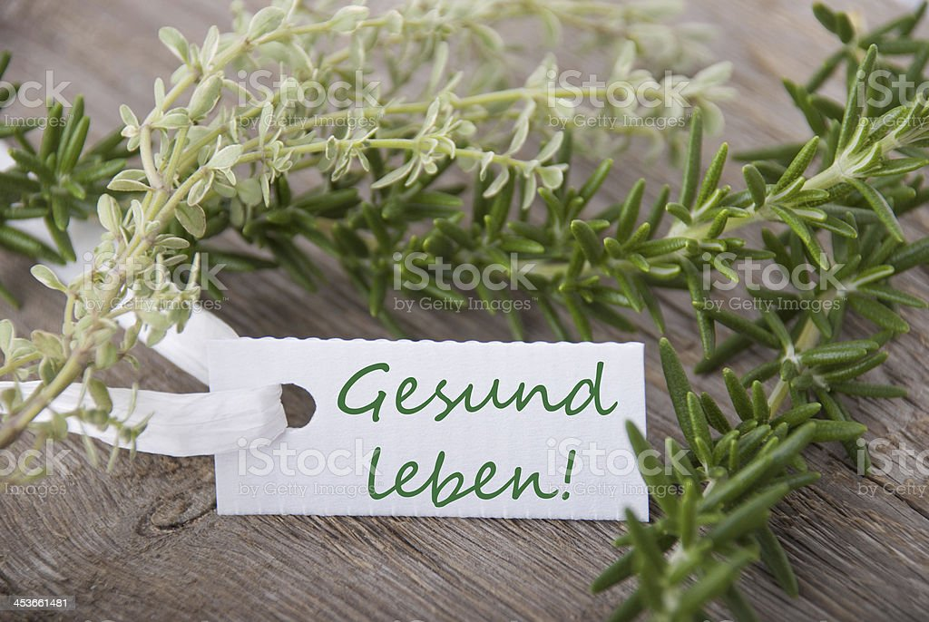 tag with Gesund leben stock photo