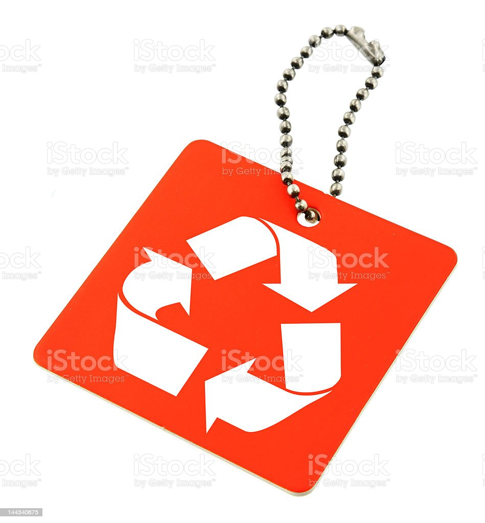 tag with recyclable symbol royalty-free stock photo