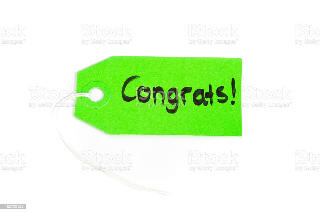 tag with string and message, congrats, congratulation stock photo
