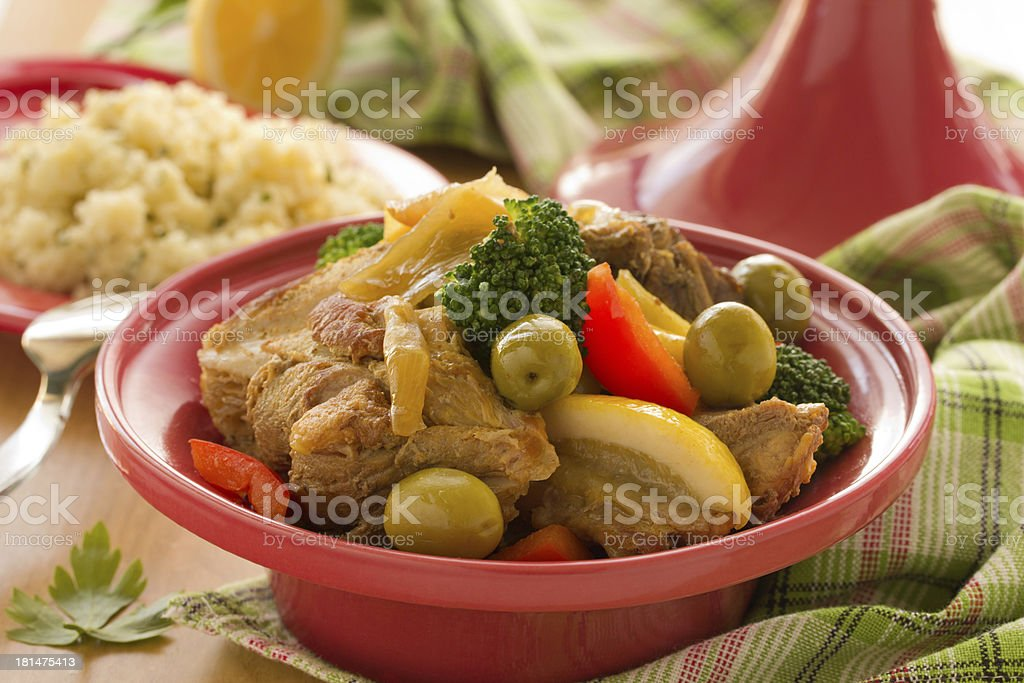 Tagine with meat and vegetables . royalty-free stock photo