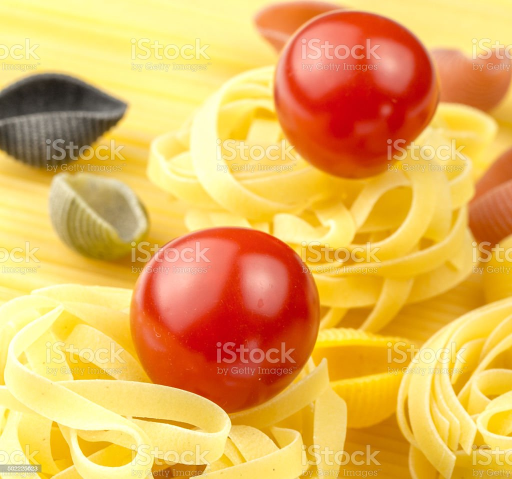 tagliatelle and fresh tomatoes royalty-free stock photo
