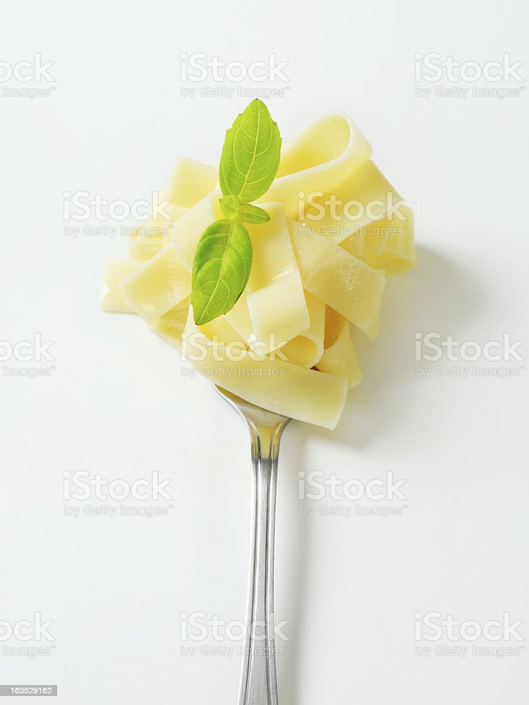 tagliatelle on a fork stock photo