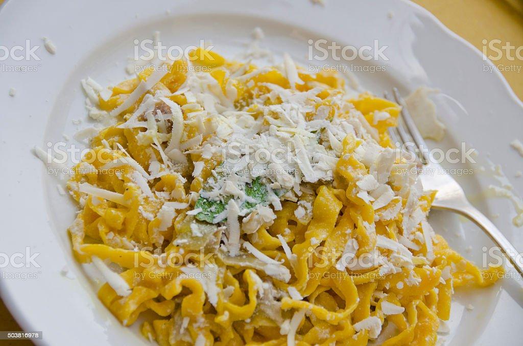 Tagliatelle Pasta in Assisi, Italy stock photo