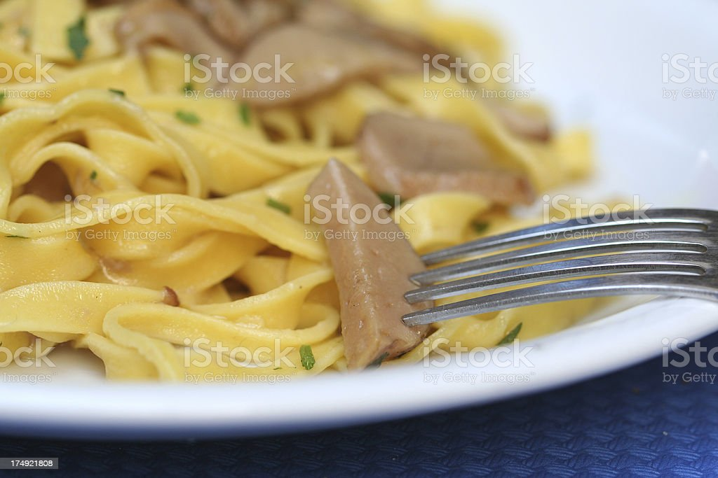 Tagliatelle Pasta with Mushrooms, Close-up royalty-free stock photo
