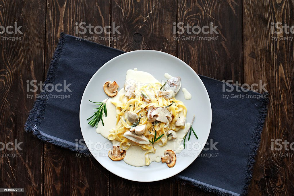 Tagliatelle Pasta with Mushrooms. stock photo