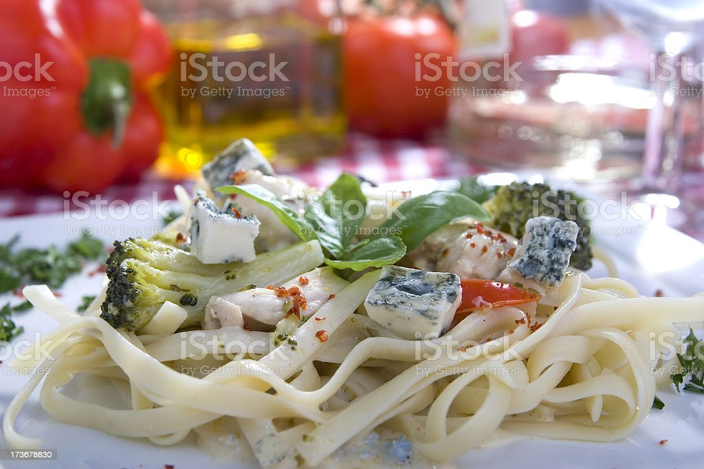 tagliatelle with blue cheese royalty-free stock photo