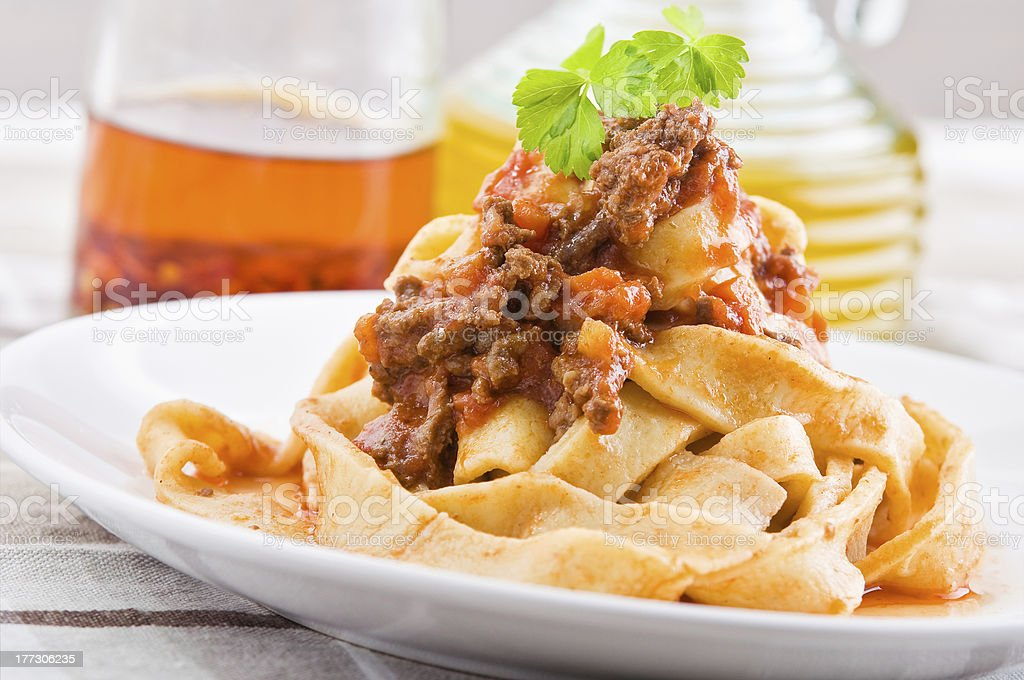 Tagliatelle with bolognese sauce. stock photo