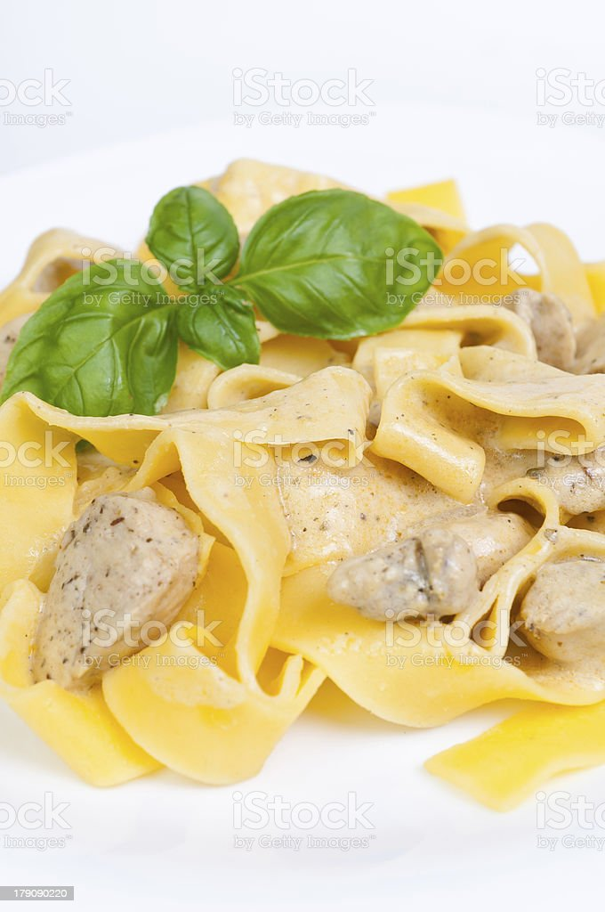 Tagliatelle with  chicken royalty-free stock photo