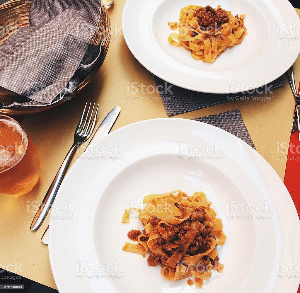 Tagliatelle with Ragu Bolognese sauce stock photo
