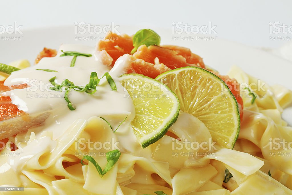 tagliatelle with salmon and lime royalty-free stock photo