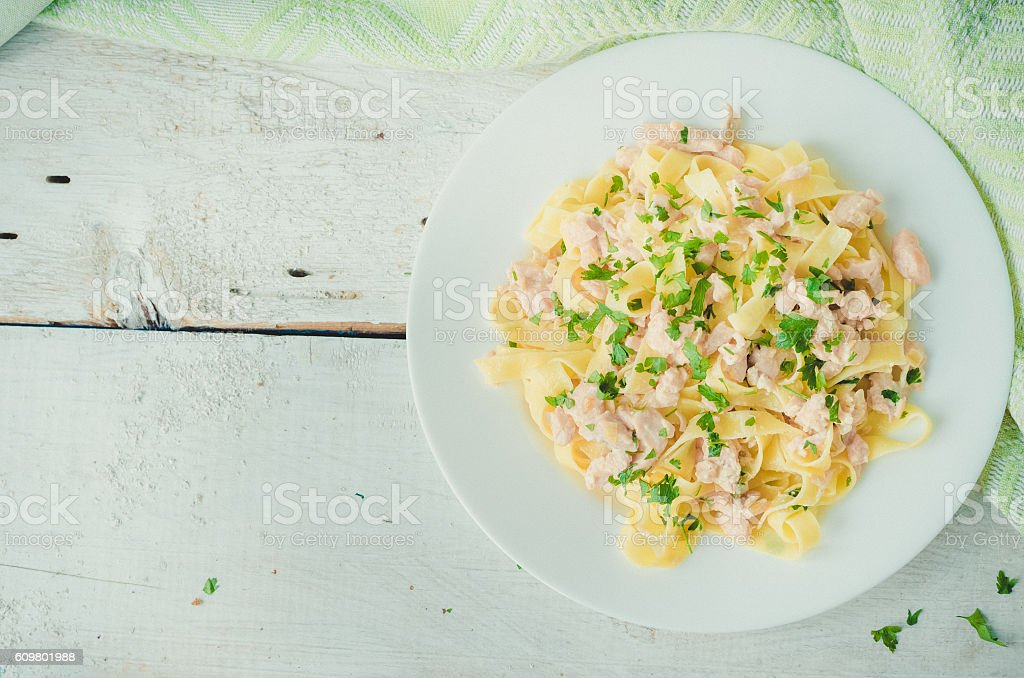 Tagliatelle with Salmon and Parsley stock photo