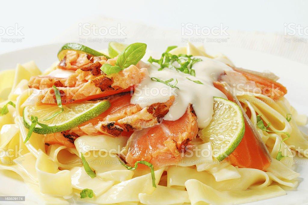 tagliatelle with salmon royalty-free stock photo