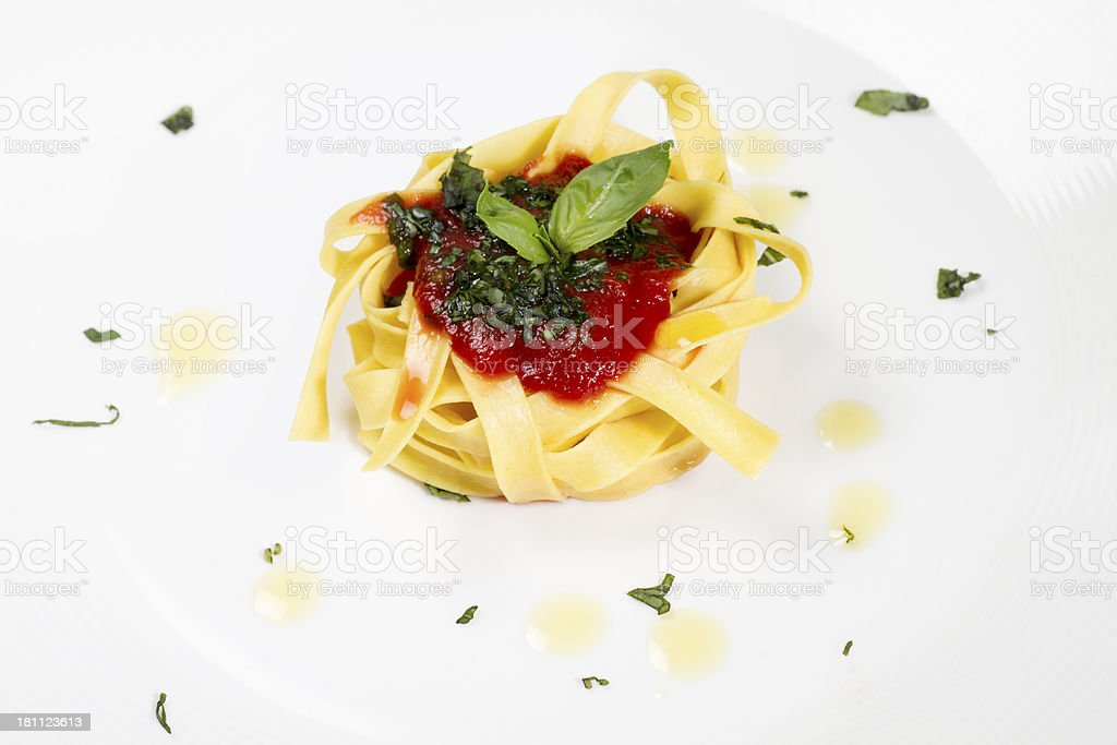 Tagliatelle al pomodoro royalty-free stock photo
