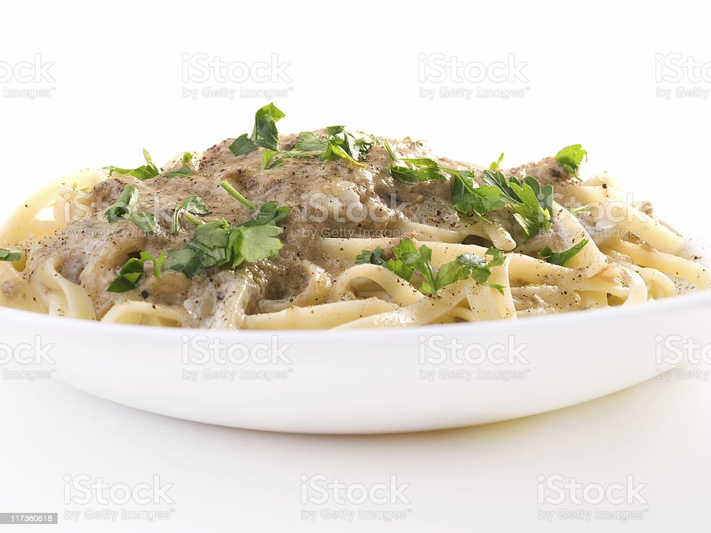 Tagliatelle with tuna fish royalty-free stock photo