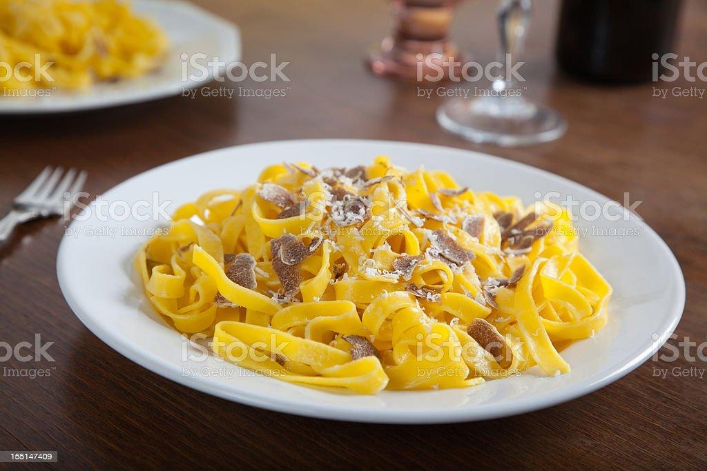 Tagliatelle with white truffles stock photo