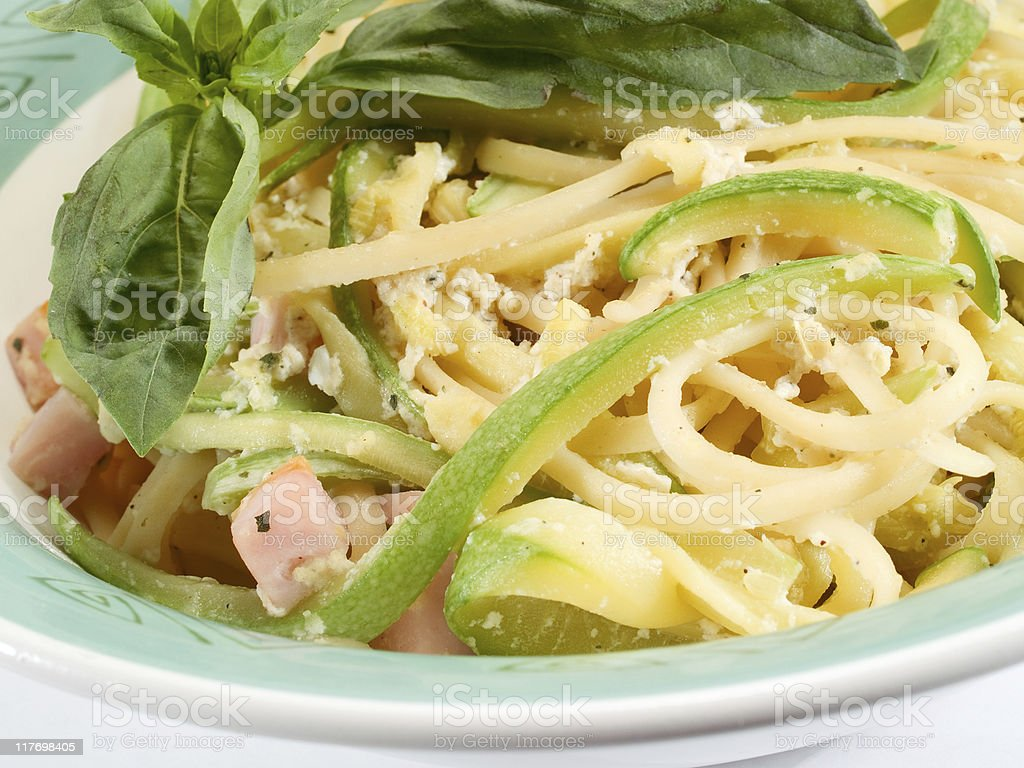 Tagliatelle with zucchini royalty-free stock photo