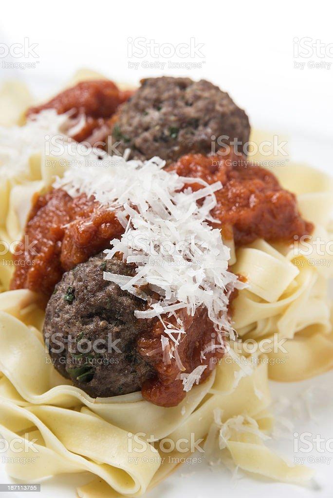Tagliatini with meatballs stock photo