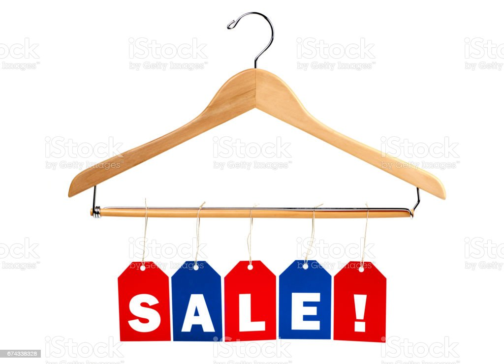 SALE tags on a clothes hanger stock photo