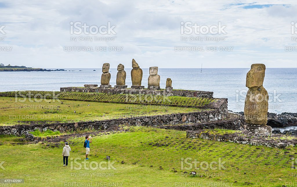 Tahai Ceremonial Complex, Easter Island, Chile stock photo