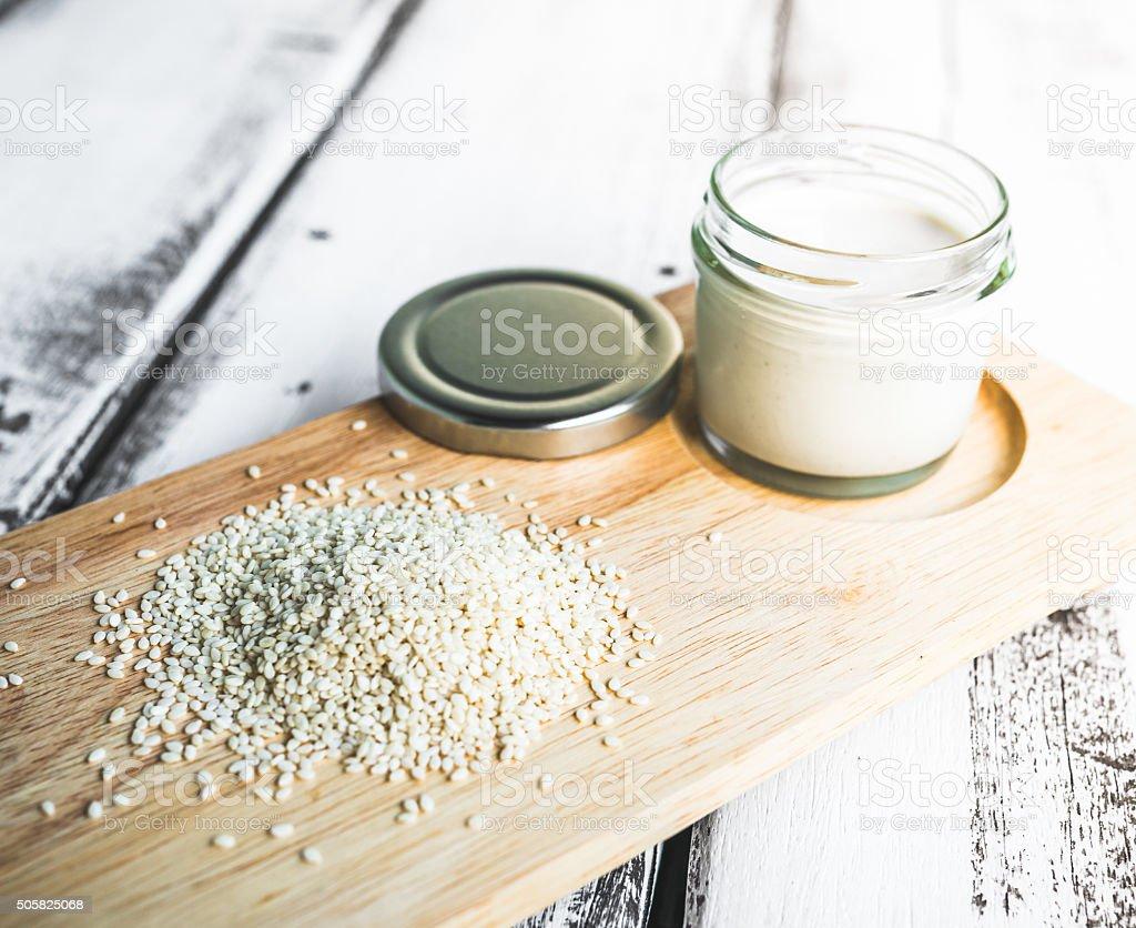 Tahini pasta stock photo