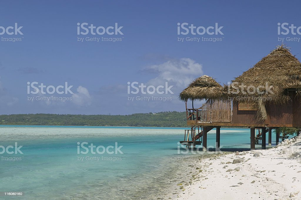 Tahitian Paradise Over Water Bungalow royalty-free stock photo