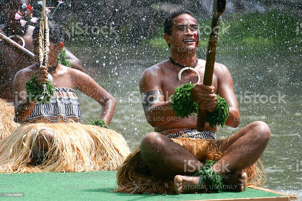Tahitians on Barge stock photo