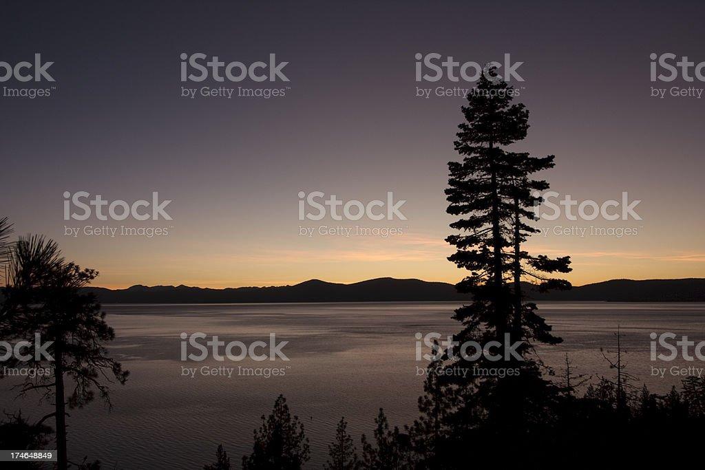 Tahoe east shore sunset stock photo