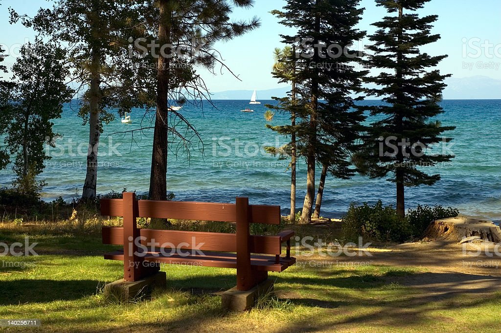 Tahoe Park Bench royalty-free stock photo