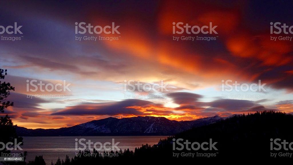 Tahoe Sunset stock photo