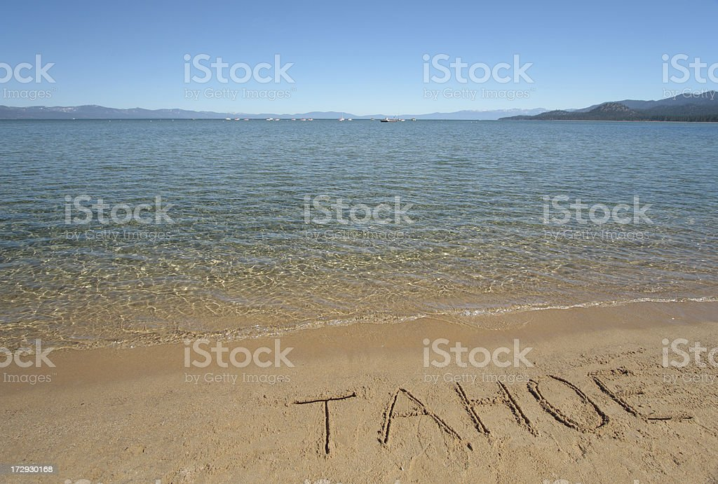 Tahoe written in sand stock photo